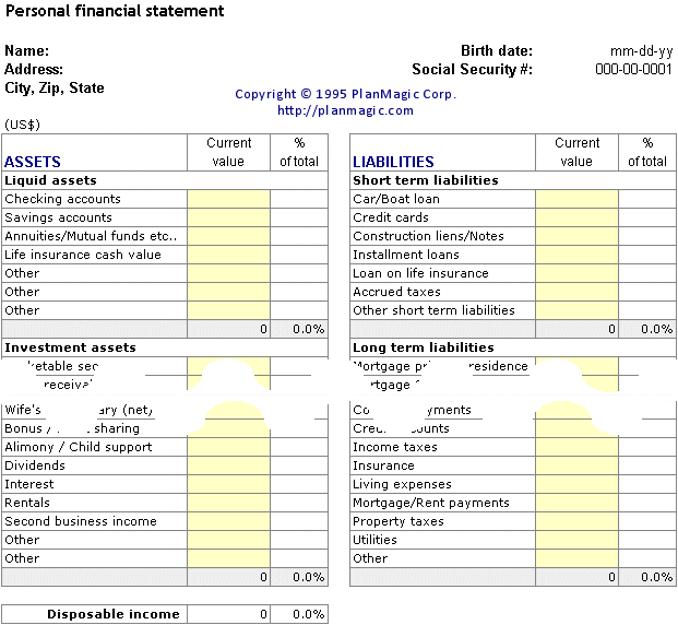 personal financial statement for a business plan How to write the financial plan section of the business plan: the income statement, cash flow projections, and the balance sheet (templates included.