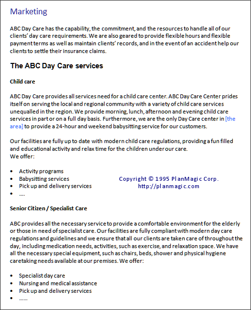 child care center sample business plan